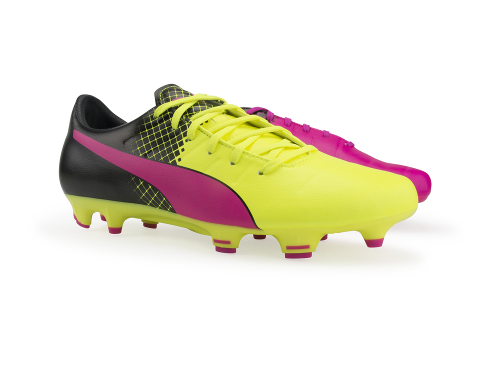 PUMA Men's evoPOWER 3.3 Tricks FG Pink Glo/Safety Yellow/Black