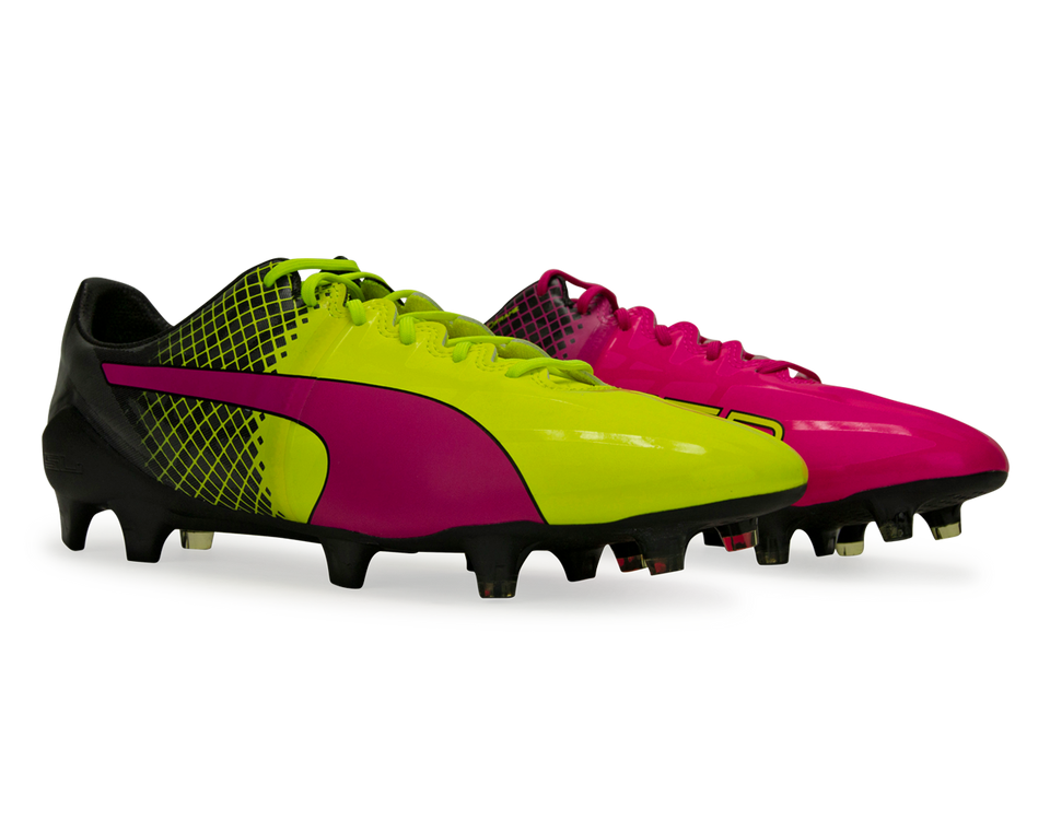 PUMA Men's evoSPEED 1.5 Tricks FG Pink Glo/Safety Yellow/Black