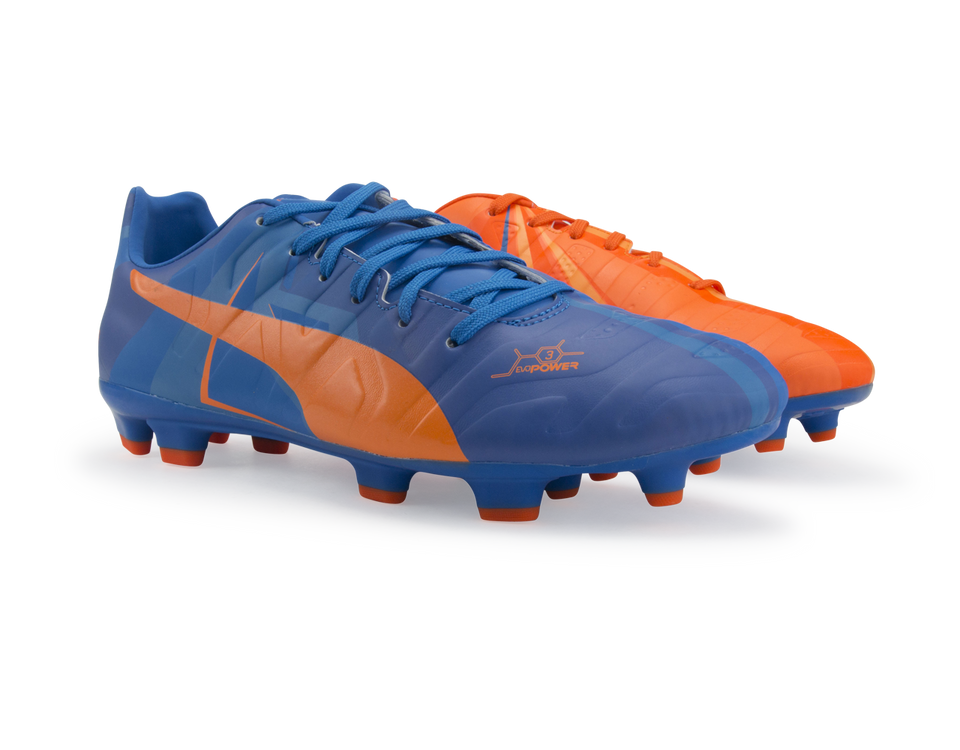 PUMA Men's evoPOWER 3 H2H FG Orange Clown Fish/Electric Blue Lemonade