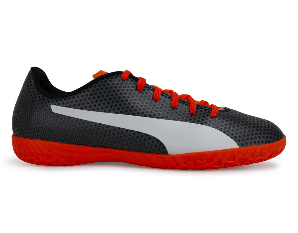 PUMA Men's Spirit Indoor Soccer Shoes Black/Orange