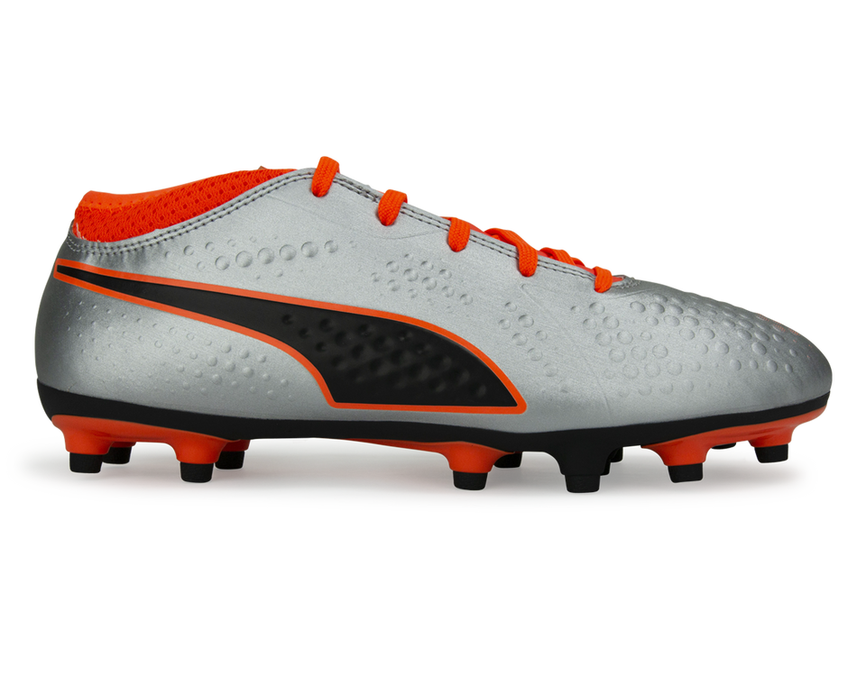 PUMA Kids One 4 Syn FG Silver/Orange/Black