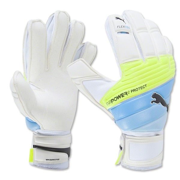 PUMA Men's Goalkeeper evoPOWER Protect 2.3 RC Gloves White/Safety Yellow/Blue