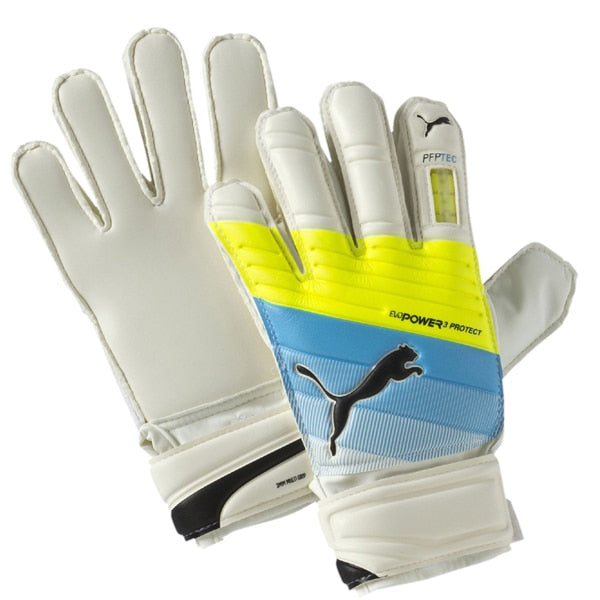 PUMA Kids Goalkeeper evoPOWER Protect 3.3 Gloves White/Atomic Blue/Safety Yellow
