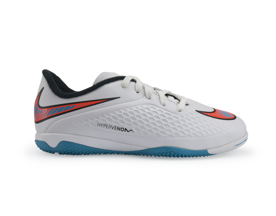 Nike Kids Hypervenom Phelon Indoor Soccer Shoes White/Blue Lagoon/Total Crimson
