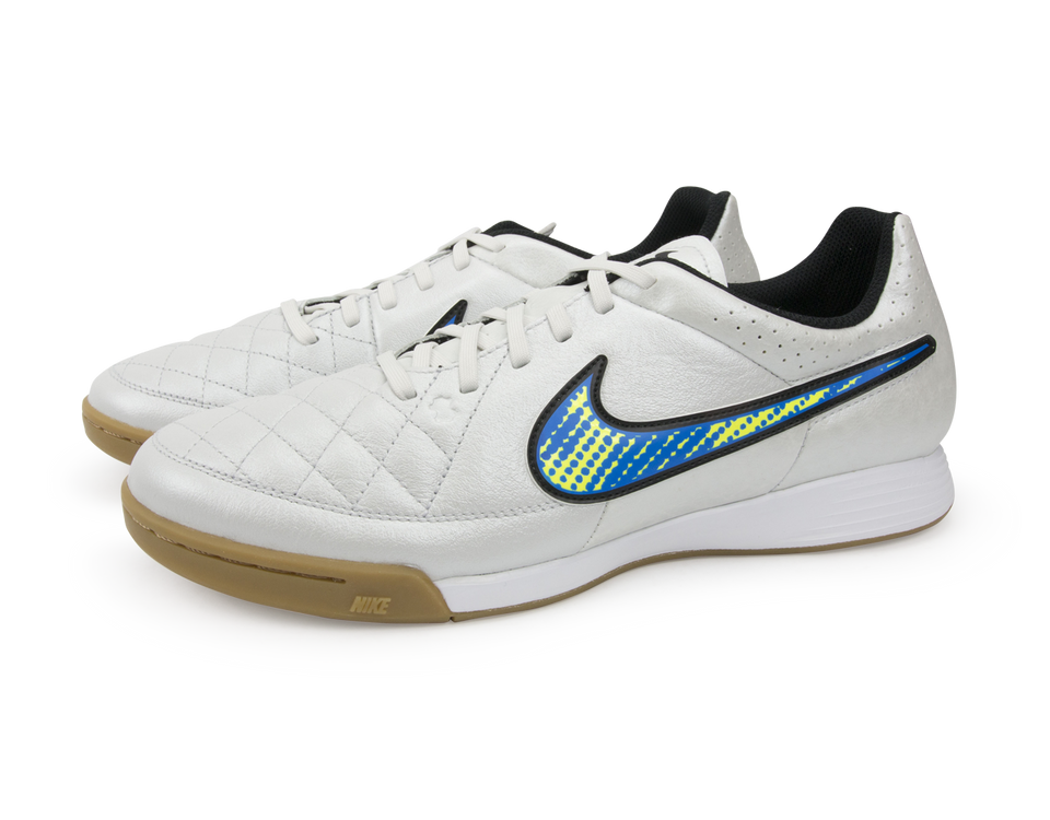 Nike Men's Tiempo Genio Leather Indoor Soccer Shoes White/Volt/Soar/Black