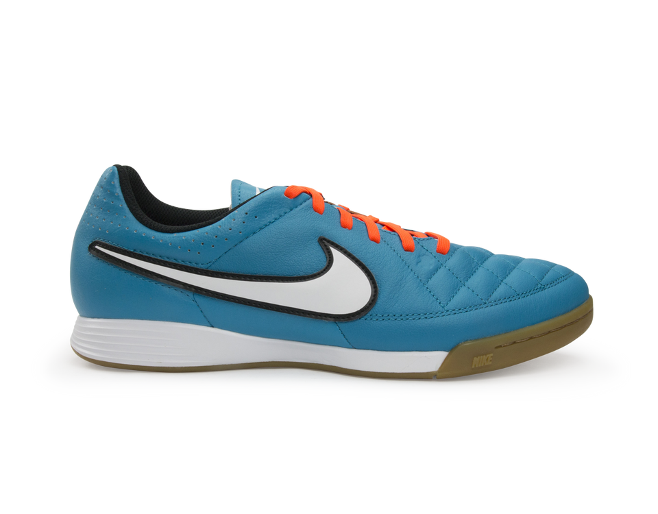 Nike Men's Tiempo Genio Leather Indoor Soccer Shoes Neo Turquoise/White/Hyper Crimson