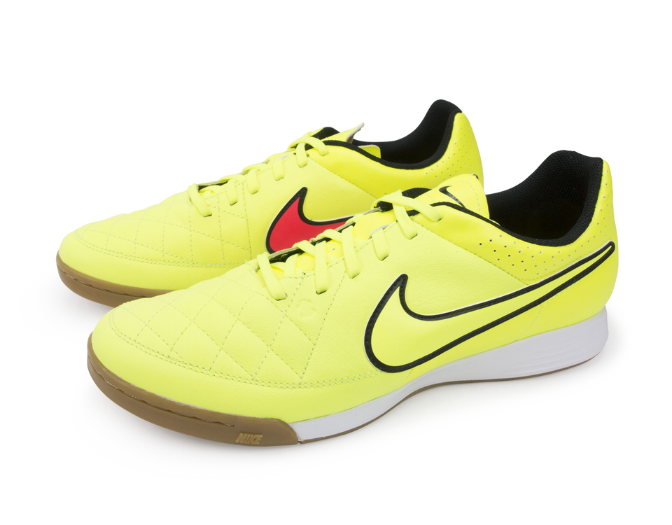 Nike Men's Tiempo Genio Leather Indoor Soccer Shoes Volt/Hyper Punch/Black