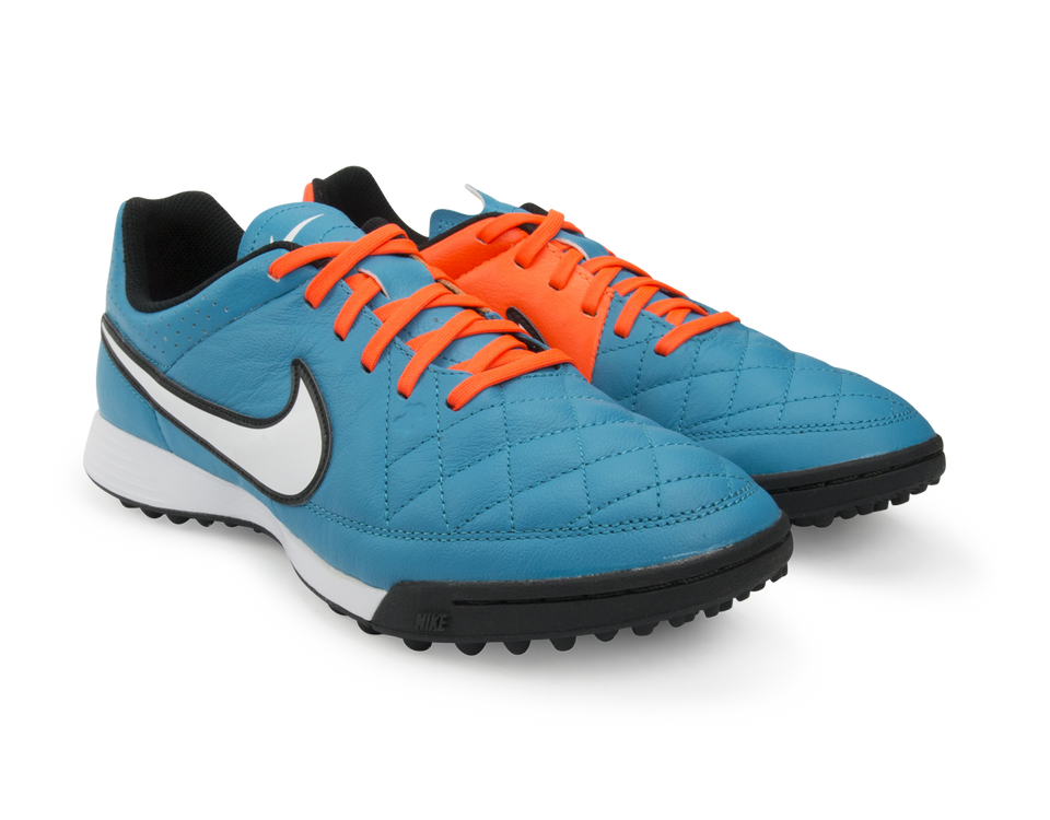 Nike Men's Tiempo Genio Leather Turf Soccer Shoes Neo Turquoise/White/Hyper Crimson