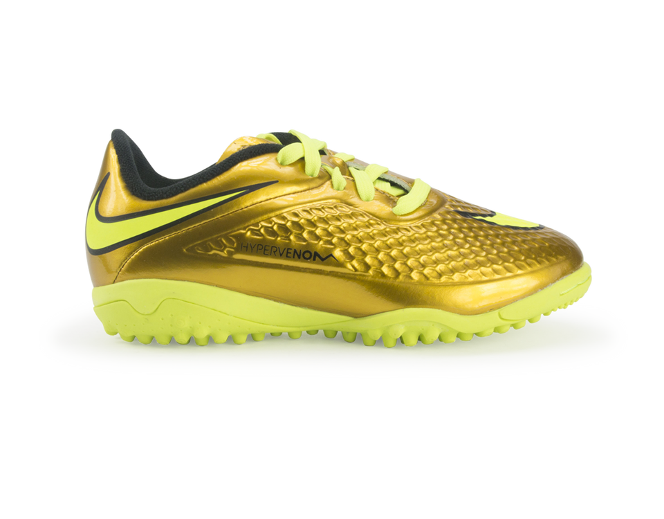 Nike Kids Hypervenom Phelon Turf Soccer Shoes Metallic Gold/Black/Tour Yellow