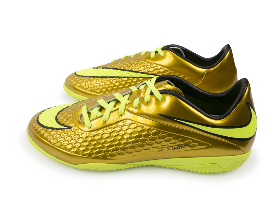 Nike Men's Hypervenom Phelon Indoor Soccer Shoes Metallic Gold/Black/Tour Yellow