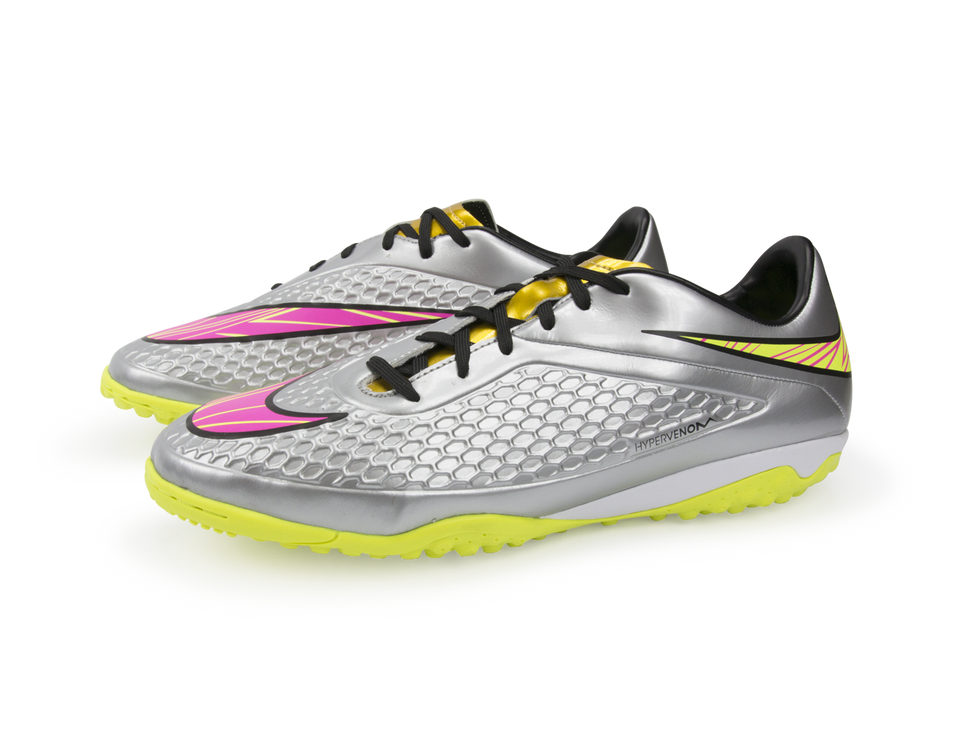 Nike Men's Hypervenom Phelon Turf Soccer Shoes Chrome/Hyper Pink/Metalic Gold