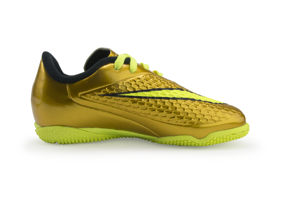 Nike Kids Hypervenom Phelon Indoor Soccer Shoes Metallic Gold/Black/Tour Yellow