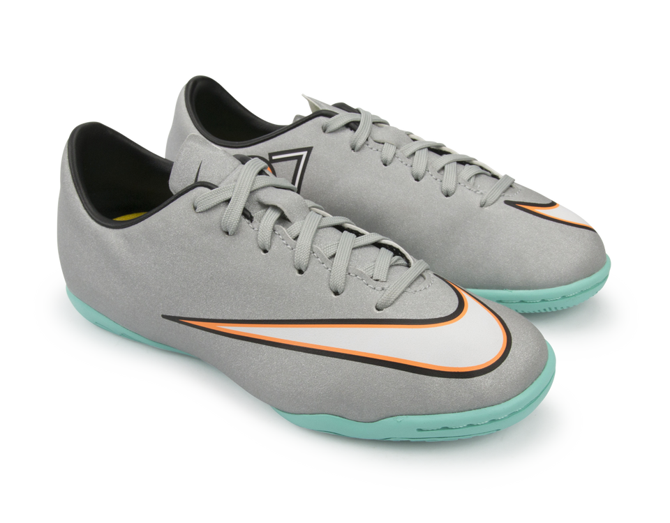 Nike Kids Mercurial Victory V CR Indoor Soccer Shoes Metallic Silver/Hyper Turquoise/Black