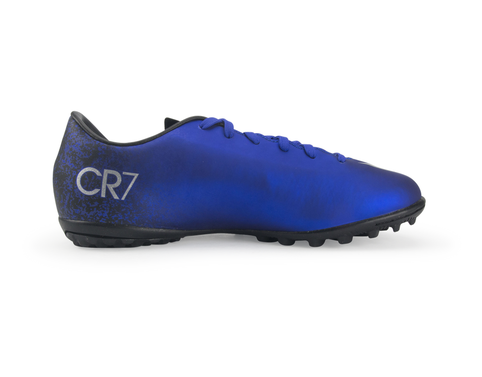 Nike Kids Mercurial Victory V CR7 Turf Soccer Shoes Deep Royal Blue/Metallic Silver