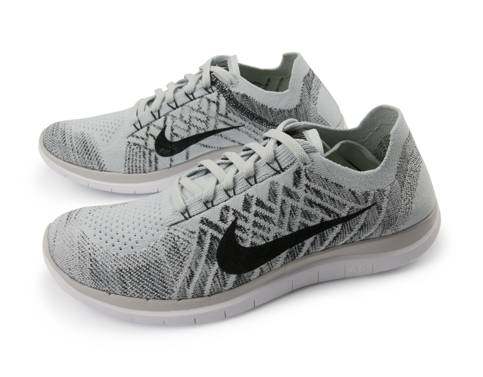 Nike Men's Free 4.0 Flyknit Running Shoes Pure Platinum/Black/White