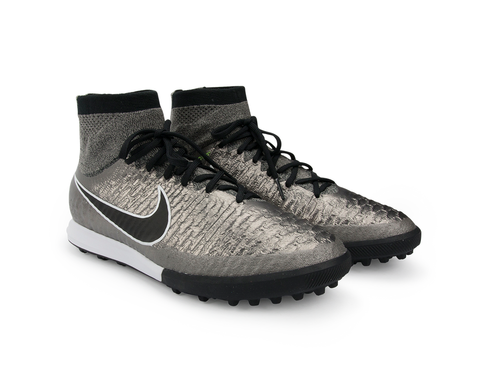 Nike Men's MagistaX Proximo Turf Soccer Shoes Metallic Pewter/Ghost Green/Black