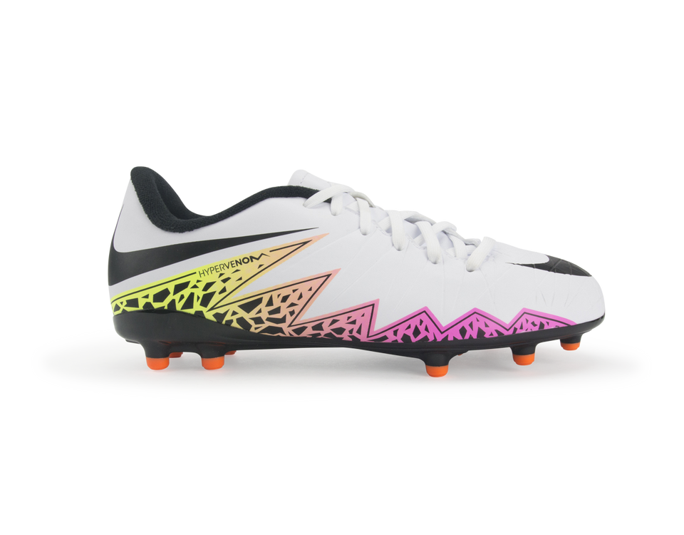 Nike Kids Hypervenom Phelon II FG White/Black/Total Orange