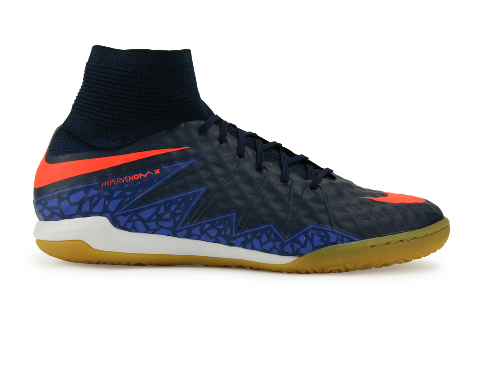 Nike Men's HypervenomX Proximo Indoor Soccer Shoes Obsidian/Total Crimson/Coastal Blue