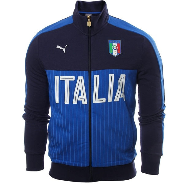 PUMA Men's Italia FIGC Fanwear Track Jacket Peacoat/Team Power Blue