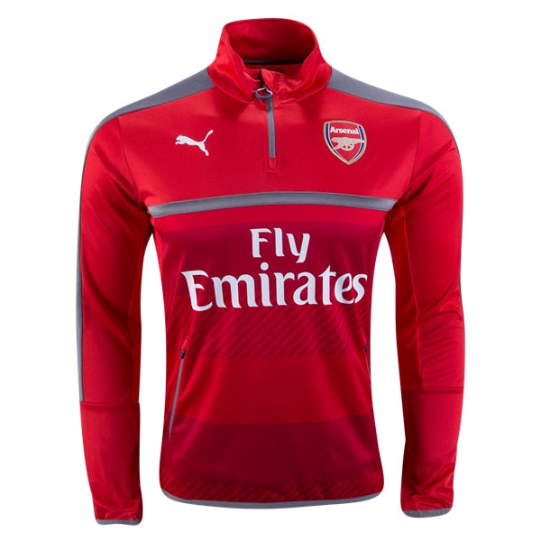 PUMA Men's Arsenal FC Quarter-Zip Training Top High Risk Red/Steel Gray