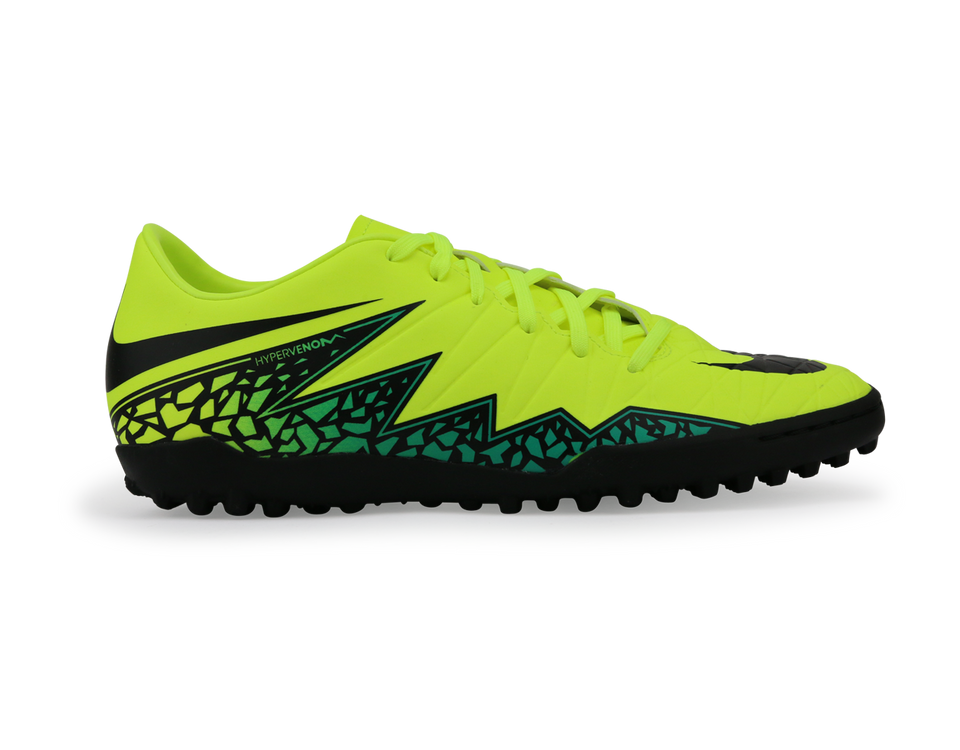 Nike Men's Hypervenom Phelon Turf Soccer Shoes Volt/Black Hyper Turqouise/Clear Jade