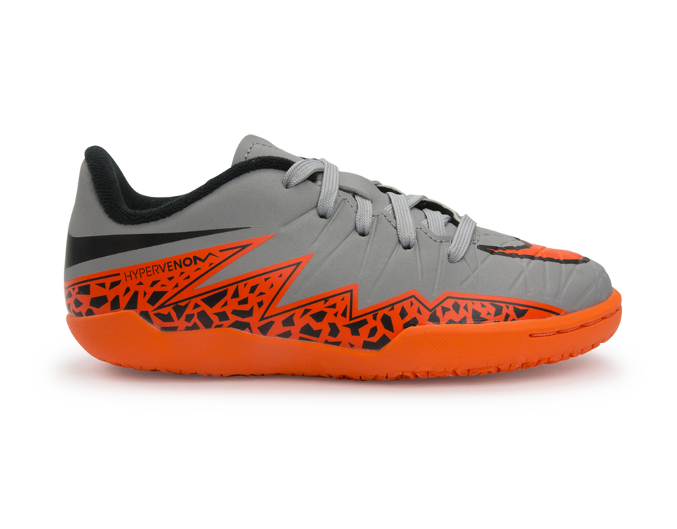 Nike Kids Hypervenom Phelon Indoor Soccer Shoes Wolf Grey/Total Orange/Black
