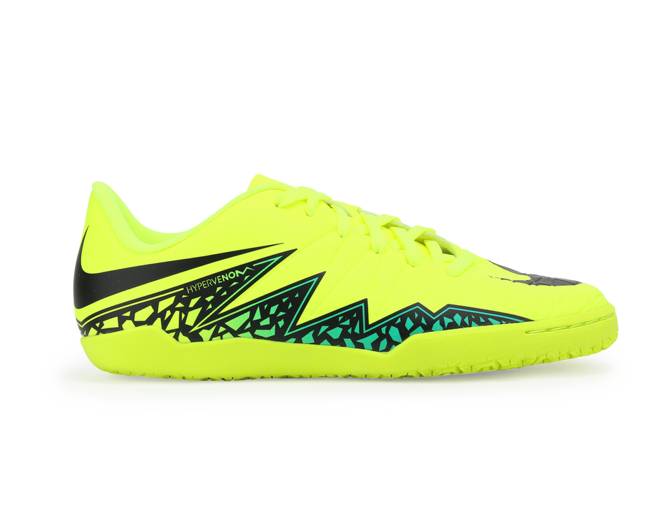 Nike Kids Hypervenom Phelon II Indoor Soccer Shoes Volt Black/Hyper Turquoise/Clear Jade