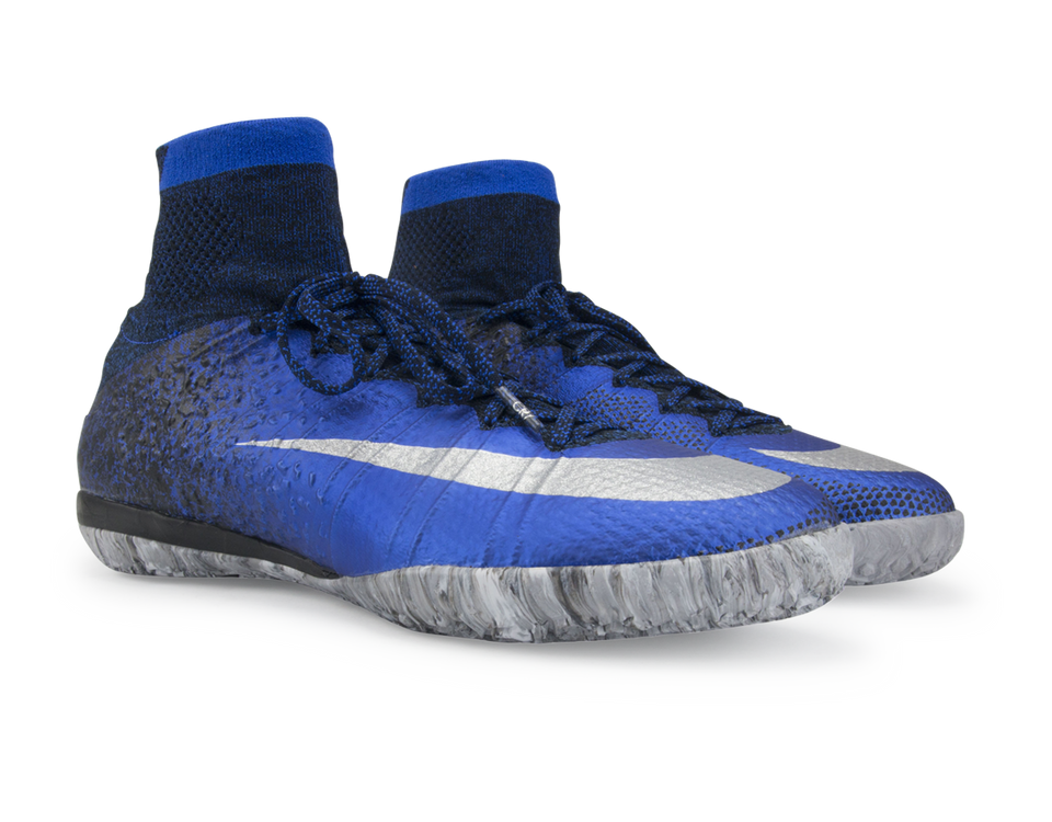 Nike Men's MercurialX Proximo CR Indoor Soccer Shoes Deep Royal Blue/Metallic Silver