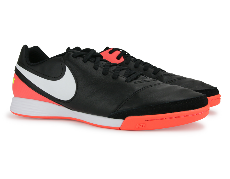 Nike Men's TiempoX Genio II Indoor Shoes Black/White/Hyper Orange/Volt