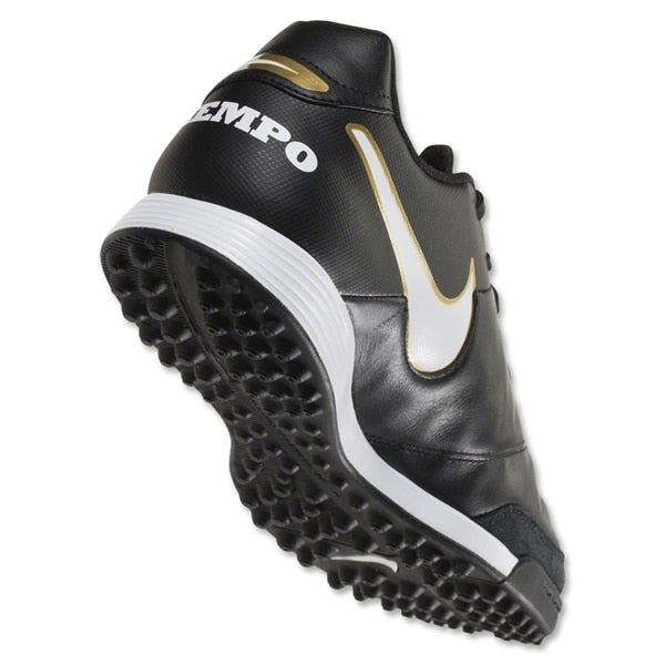 Nike Men's Tiempo Genio II Leather Turf Soccer Shoes Black/White/Metallic Gold