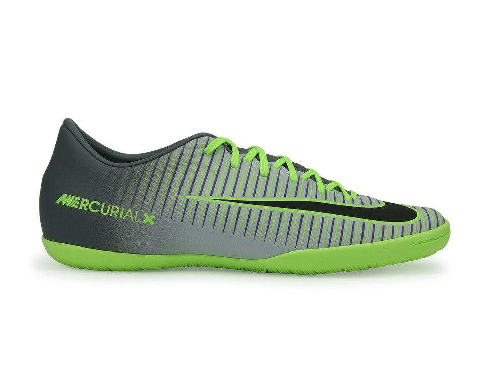 Nike Men's MercurialX Victory VI Indoor Soccer Shoes Pure Platinum/Black/Ghost Green