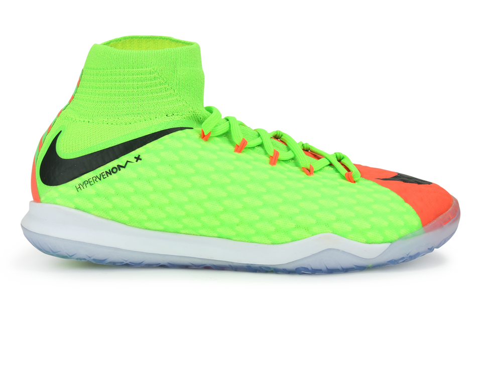 Nike Kids HypervenomX Proximo II Indoor Soccer Shoes Electric Green/Black/Hyper Orange
