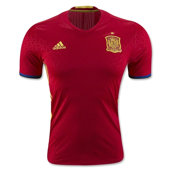 adidas Men's Spain 15/16 Authentic Home Jersey Scarlet/Lemon Peel