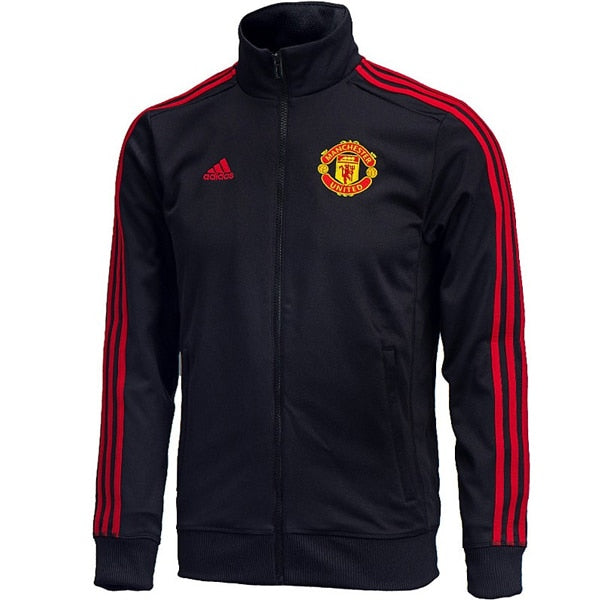 adidas Men's Manchester United 3 Stripes Track Jacket Black/Red