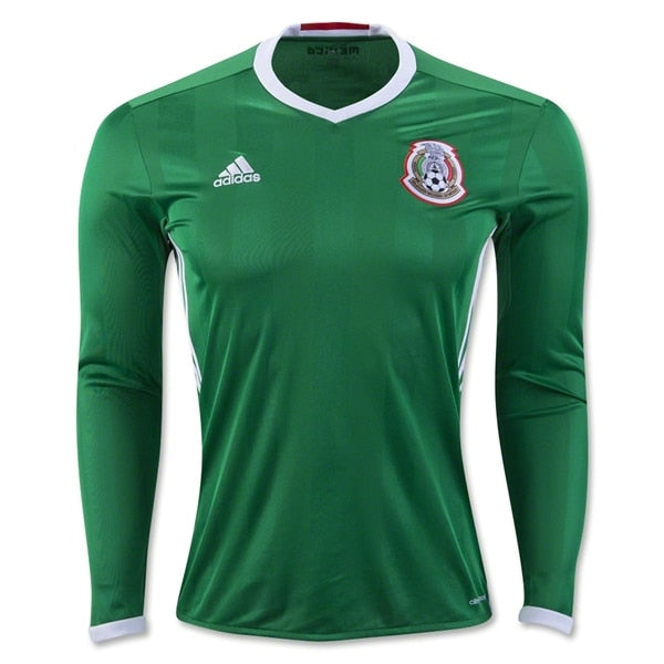 adidas Men's Mexico 16/17 Long Sleeve Home Jersey Green/Red/White