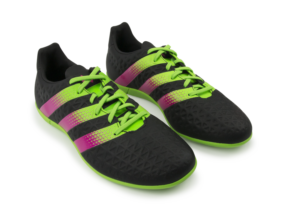 adidas Men's ACE 16.3 Indoor Soccer Shoes Core Black/Solar Green