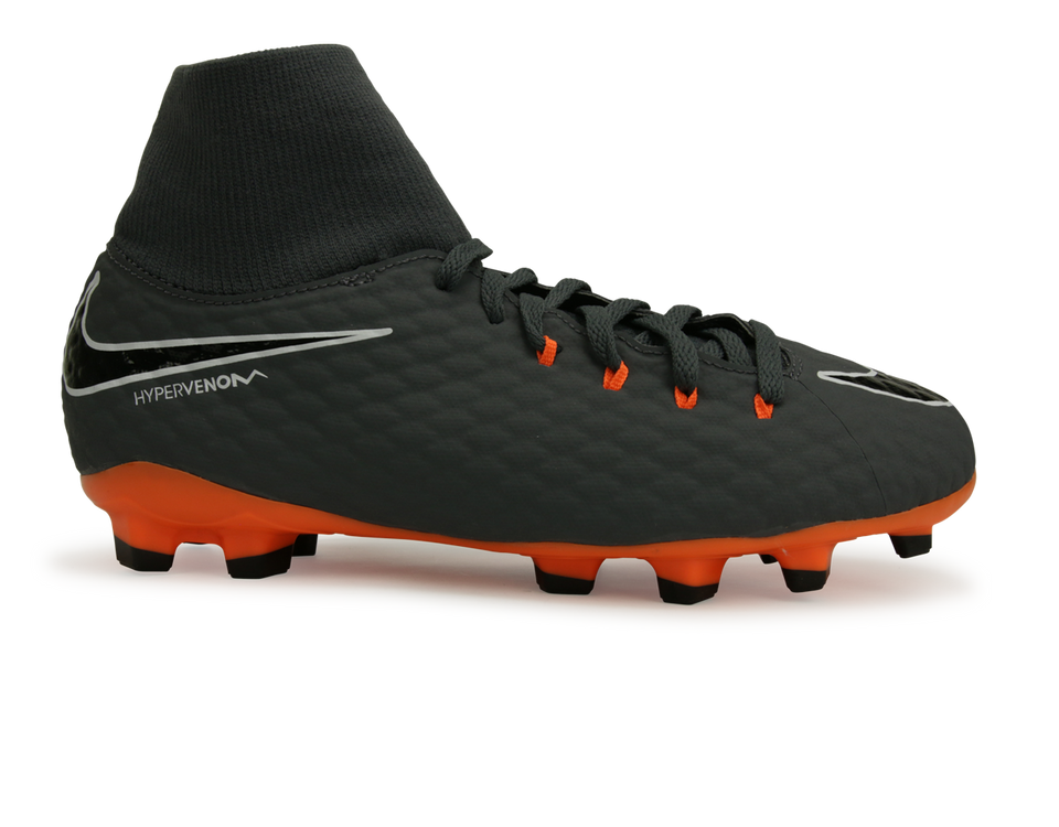 Nike Kids Hypervenom 3 Academy DF FG Dark Grey/Total Orange/White