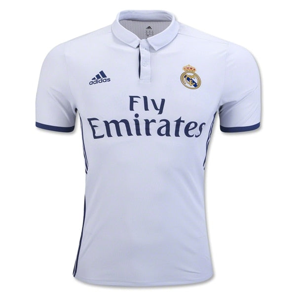 adidas Men's Real Madrid 16/17 Authentic Home Jersey Crystal White/Raw Purple