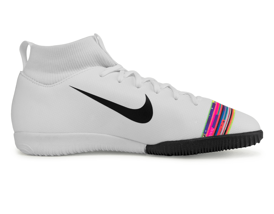 Nike Kids Mercurial Superfly 6 Academy GS Indoor Soccer Shoes White/Black/Pure Platinum