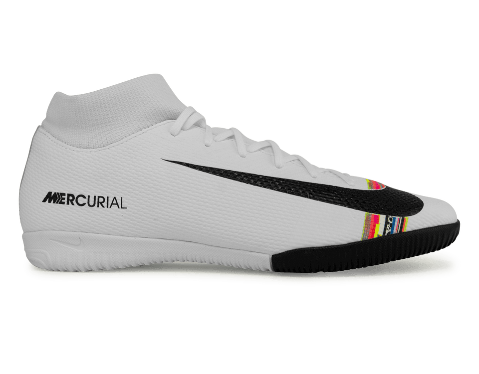 Nike Men's Mercurial Superfly 6 Academy Indoor Soccer Shoes White/Black/Pure Platinum