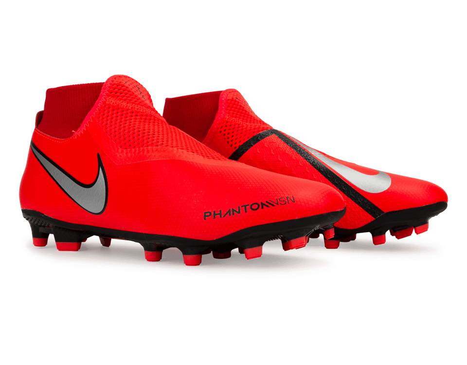 Nike Men's Phantom VSN Game Over Academy DF FG/MG Bright Crimson/Metallic Silver