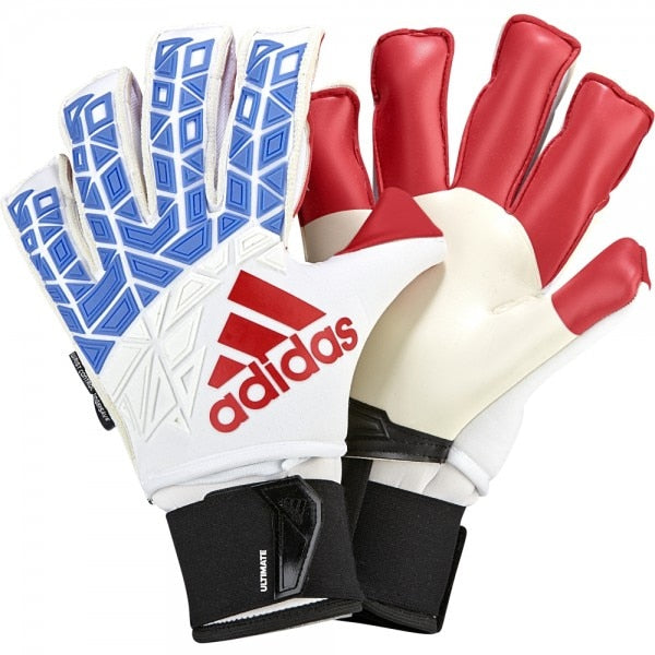 adidas Men's ACE Trans Ultimate Fingersave Goalkeeper Gloves White/Blue/Red