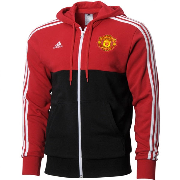 adidas Manchester United 3 Stripes Full Zip Hoodie Real Red/Black