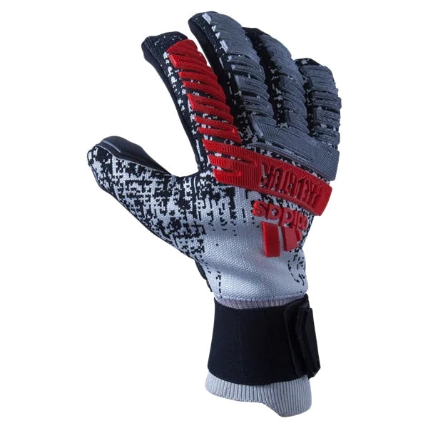 adidas Men's Predator Pro Fingersave Goalkeeper Gloves Silver Metallic/Black/Hi-Res Red