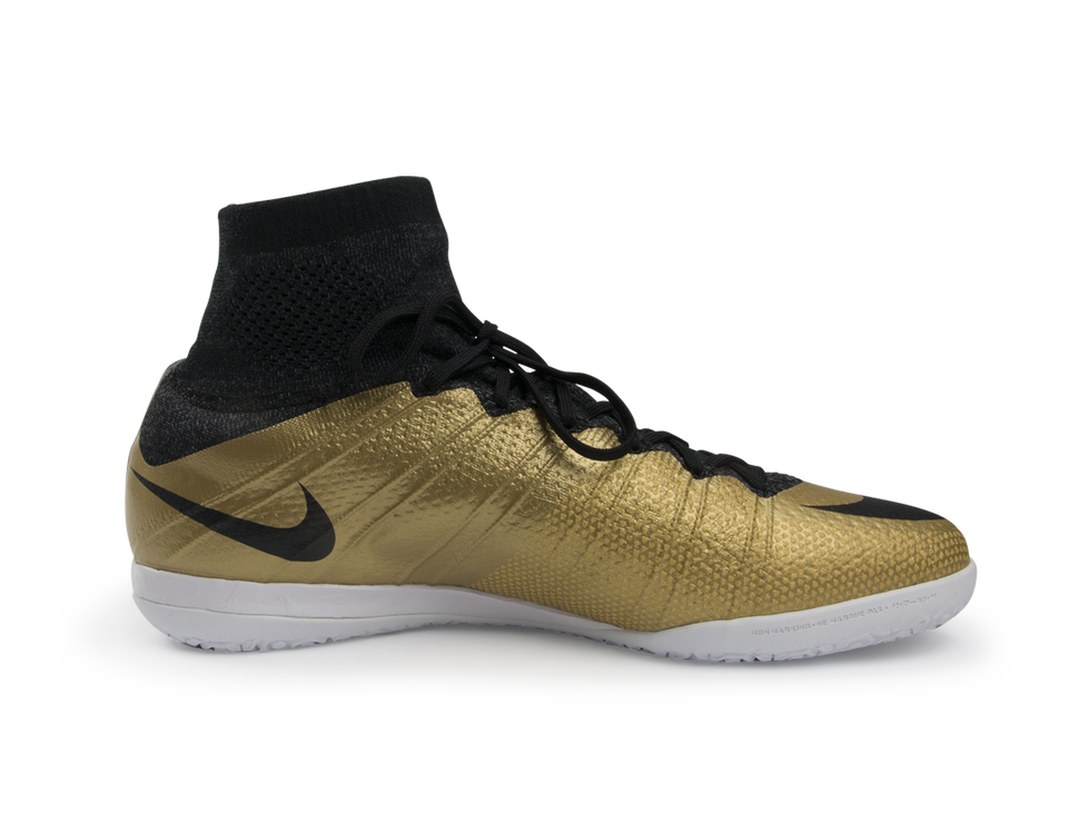 Nike Men's MercurialX Proximo Indoor Soccer Shoes  Metallic Gold/Black/Tour Yellow