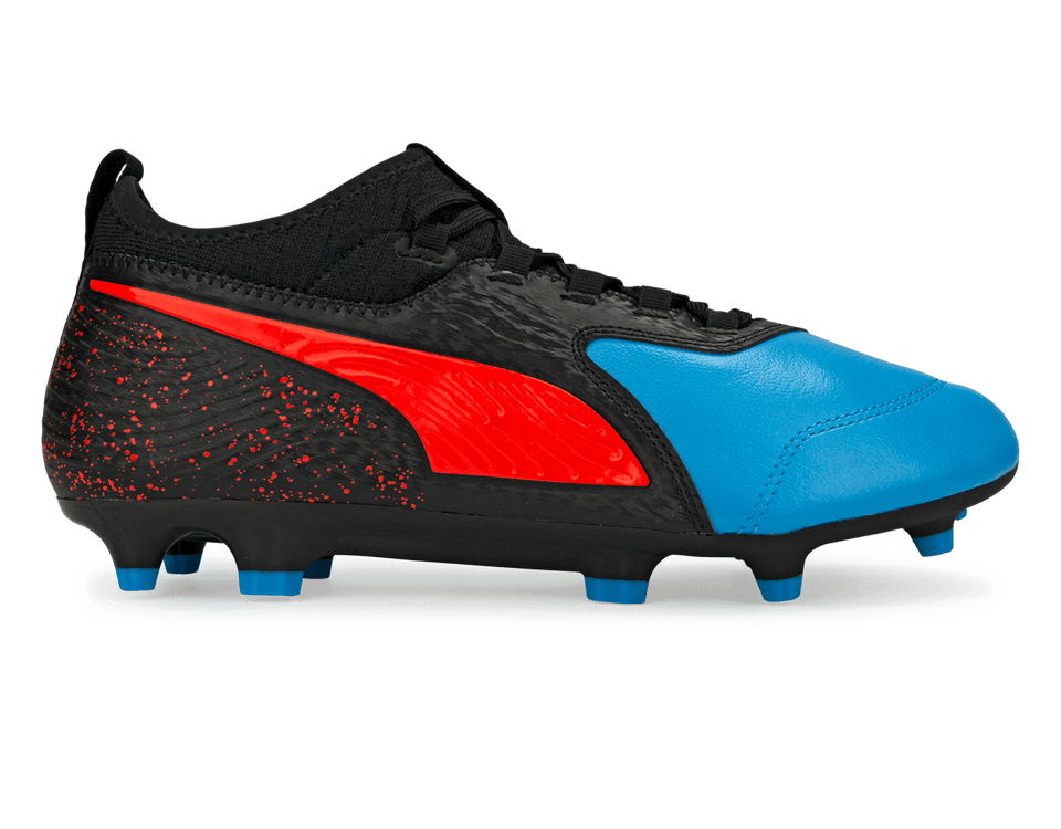 PUMA Men's One 19.3 FG/AG Bleu Azur/Red Blast
