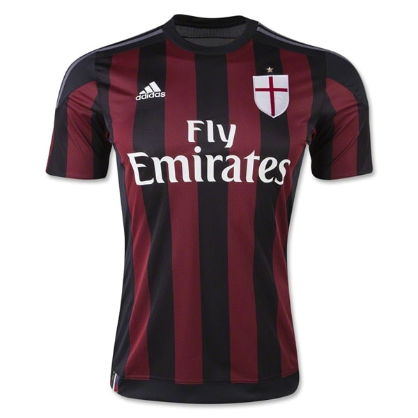 adidas Youth AC Milan 15/16 Home Jersey Black/Victory Red/Granite