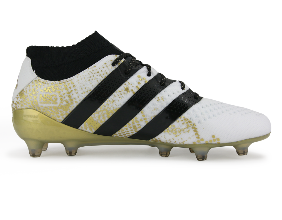 adidas Men's ACE 16.1 Primeknit  FG White/Core Black/Gold Metalic