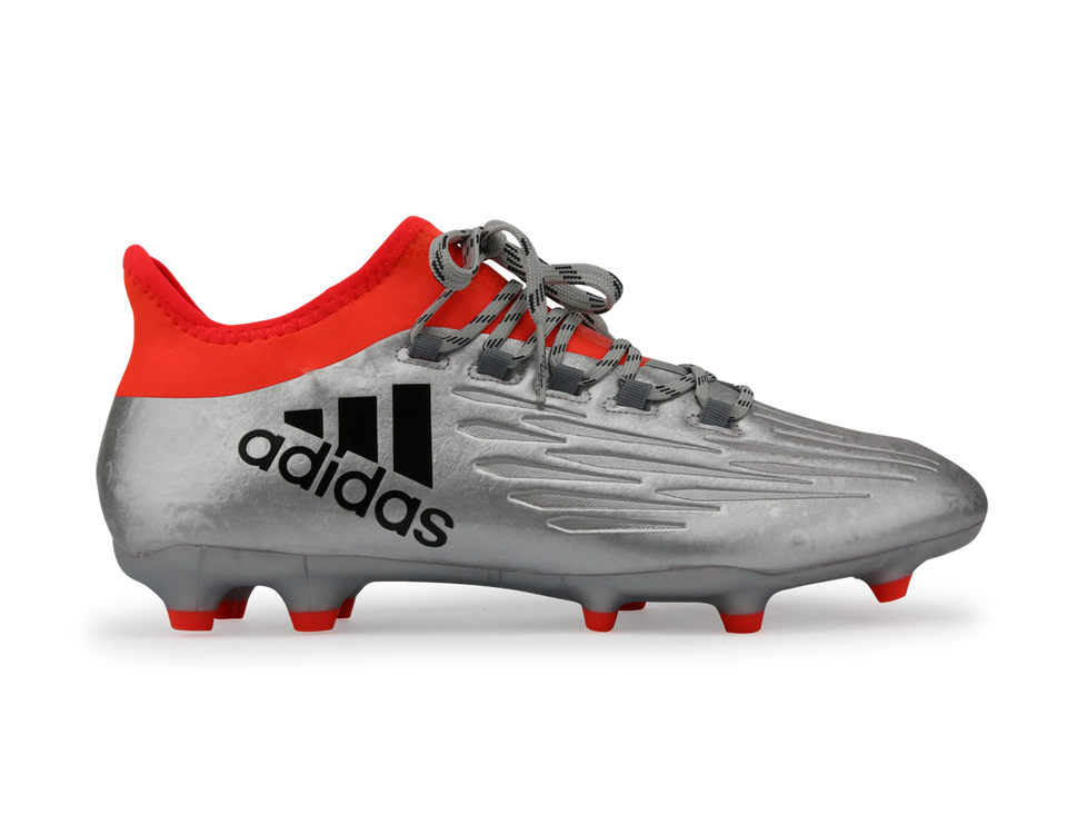 adidas Men's X 16.2 FG Silver Metallic/Black/Solar Red