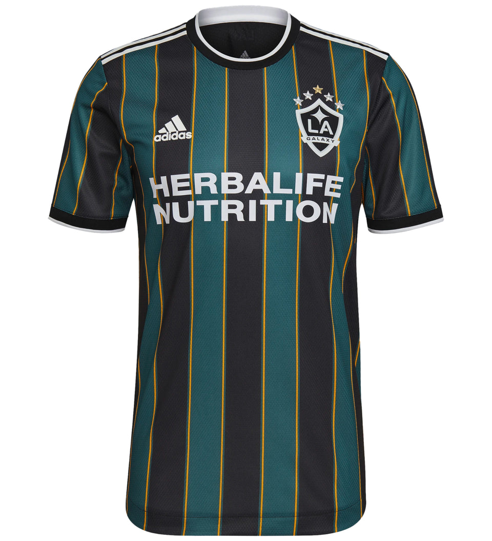 adidas Men's LA Galaxy 2021/22 Authentic Away Jersey Black/Tech Green Front